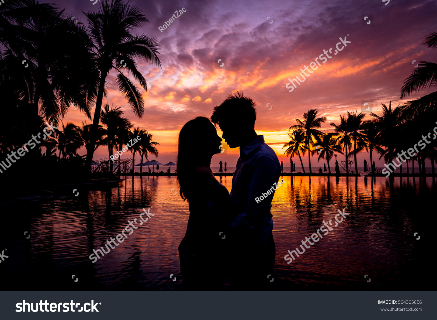 Silhouette Love Sweet Heart Nature Sunset Stock Photo Edit Now 564365656