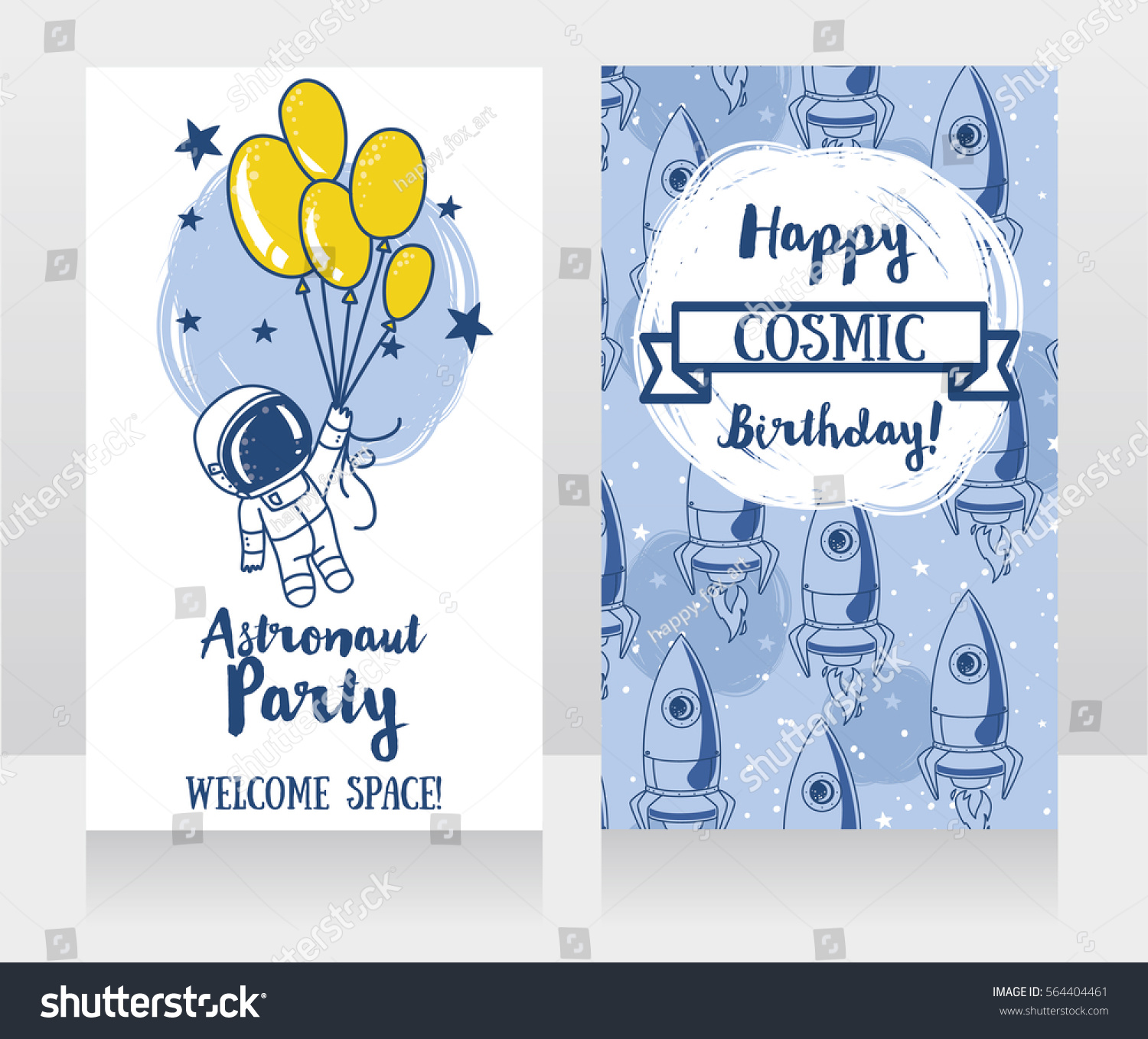 Cute Astronaut Balloons On Starry Background Stock Vector (Royalty ...