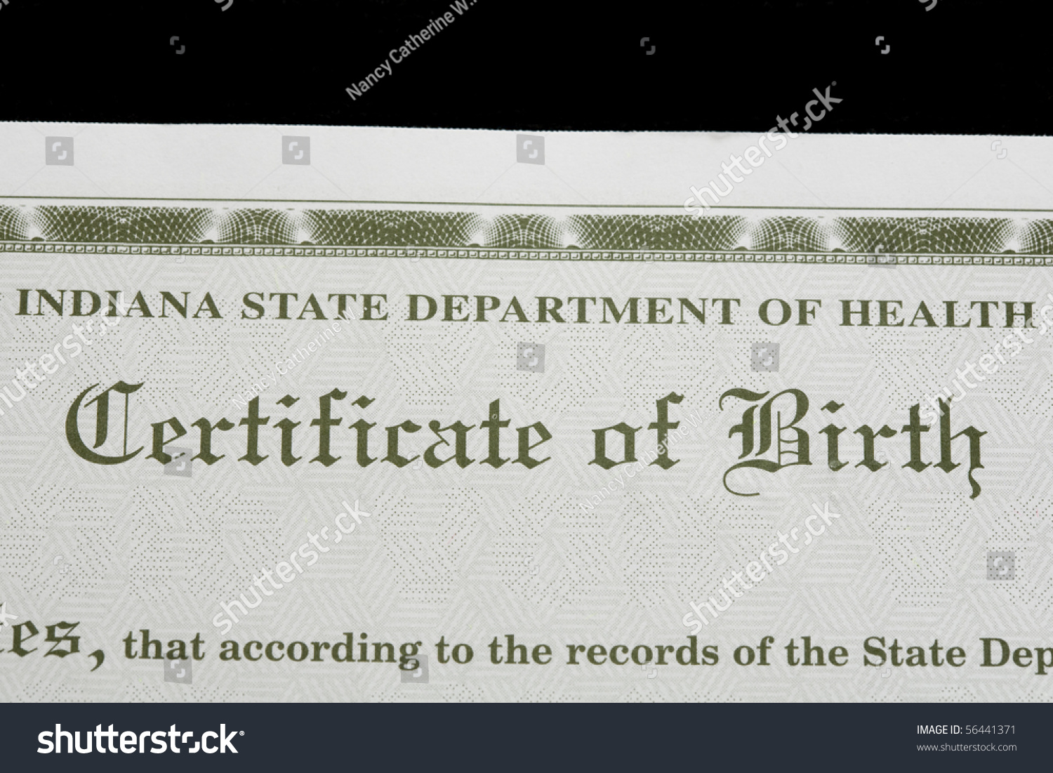 Birth Certificate Us State Indiana Stock Photo Edit Now 56441371