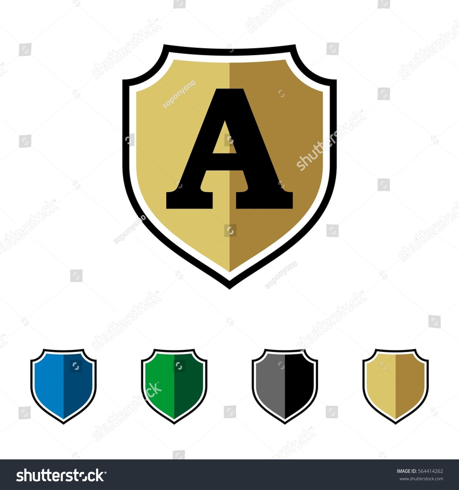 Initial Shield Logo Template Stock Vector 564414262 - Shutterstock