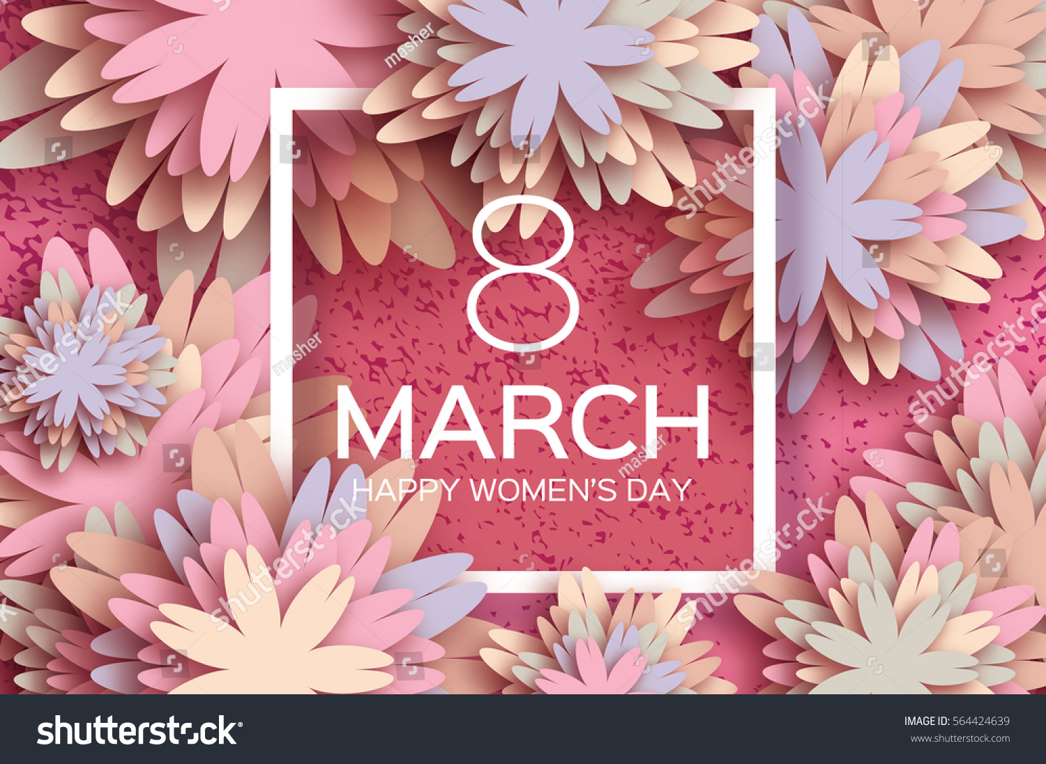 Pastel 8 March. Floral Greeting card. Happy Women's Day. Paper cut flower holiday background with square Frame, space for text. Origami Trendy Design Template. Happy Mother's Day. Vector illustration #564424639