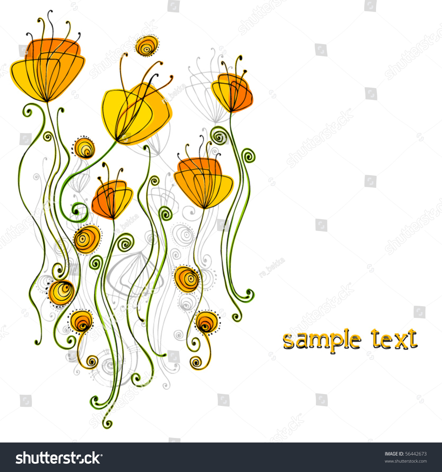 Cute spring flower - Vector Beautiful Spring Background With Illustrated Cute Flowers Eps8