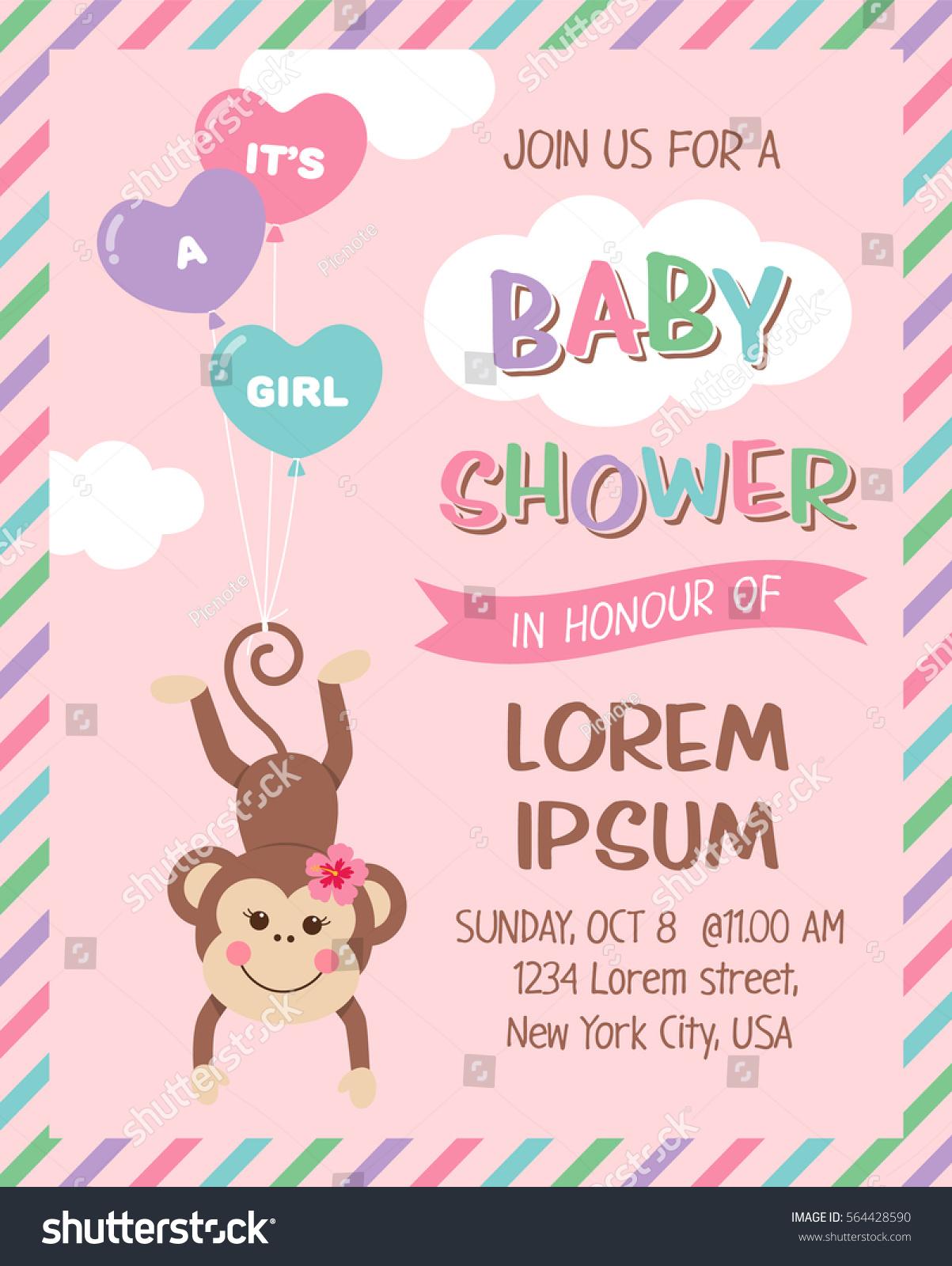Cute Monkey Cartoon Illustration Baby Shower Stock Vector Royalty