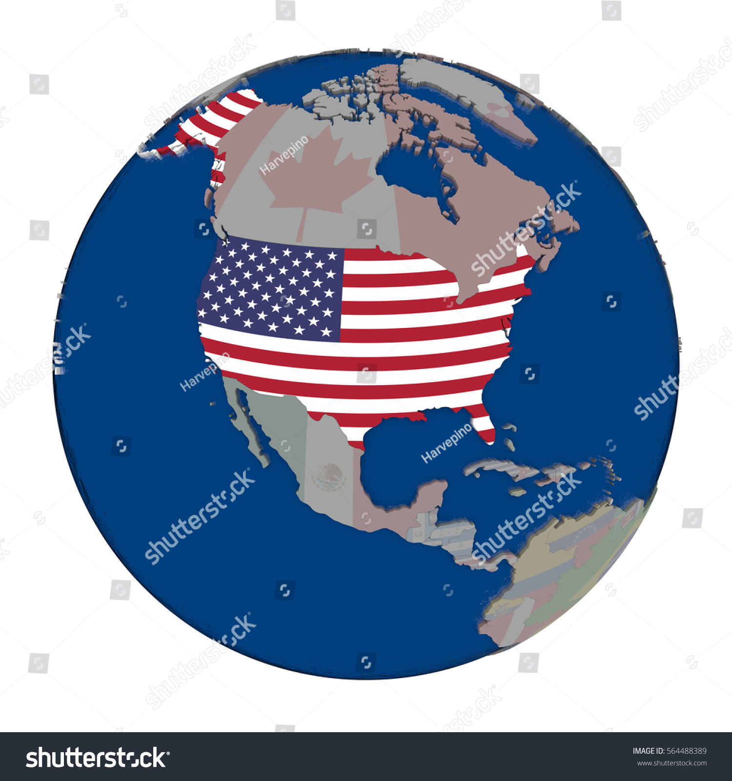 Usa Embedded National Flag On Political Stock Illustration - Globe of usa