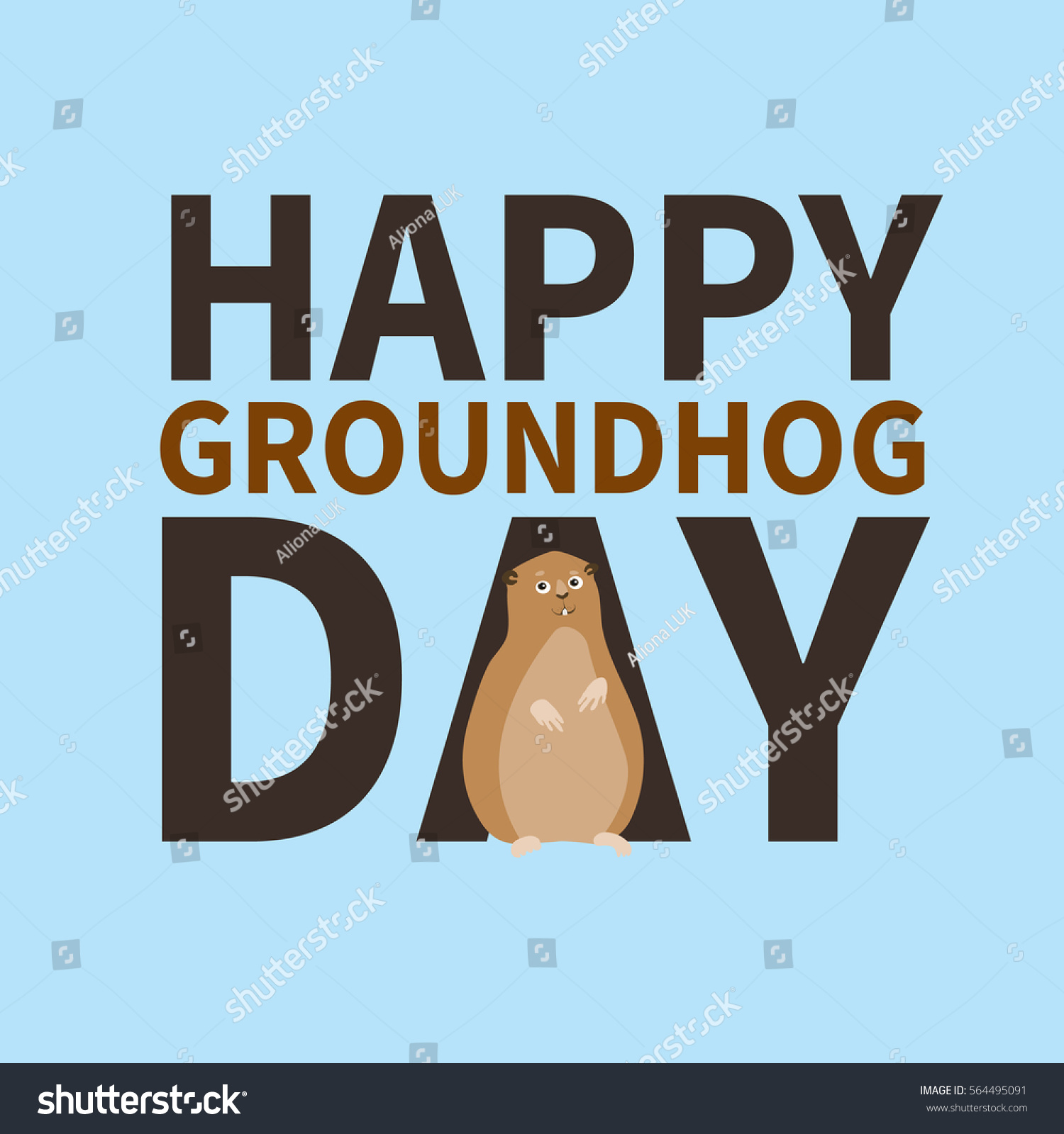 Happy Groundhog Daylogo Icon Cute Happy Stock Vector Royalty Free