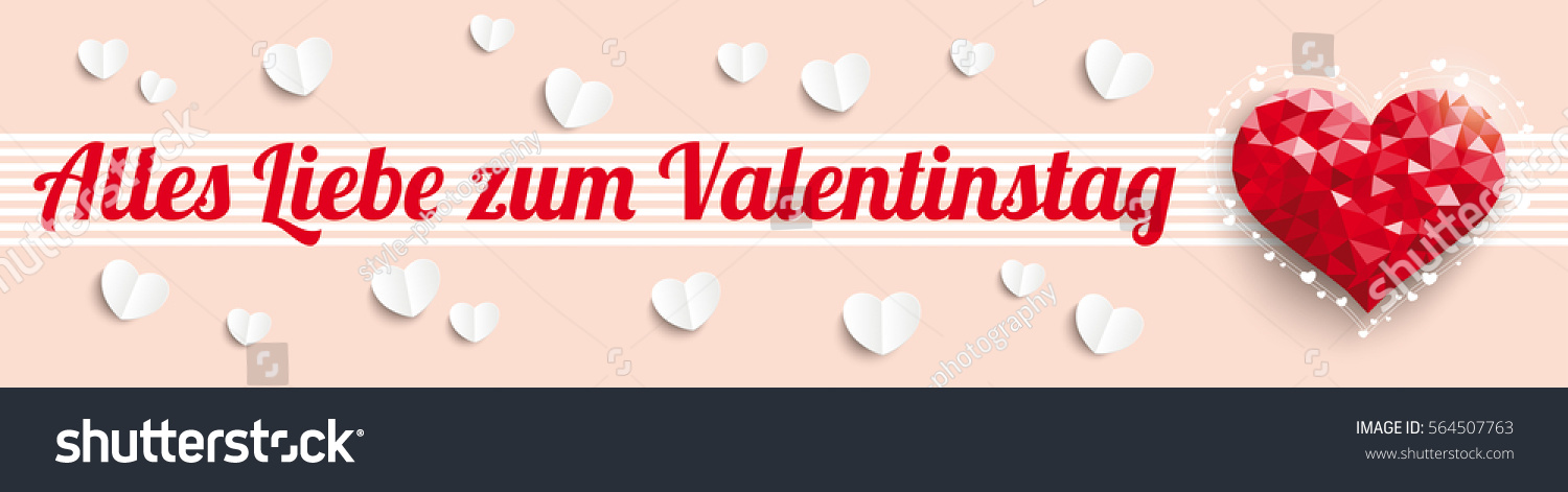 German Text Alles Liebe Zum Valentinstag, Translate Happy Valentines Day.  Eps 10 Vector File