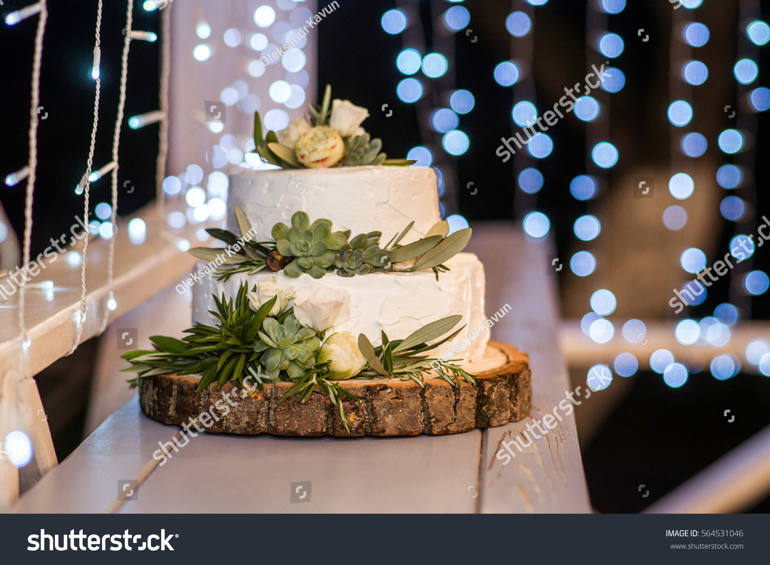 Wedding Cake Rustic Style Succulents Outdoor Stock Photo Edit Now 564531046