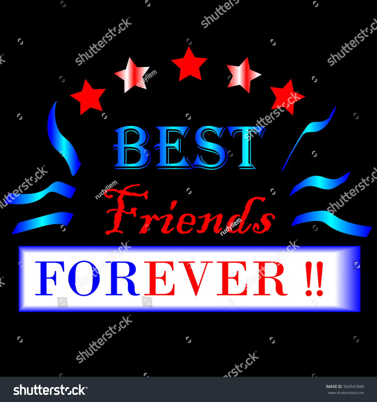 best friends forever typographic design vector stock vector royalty