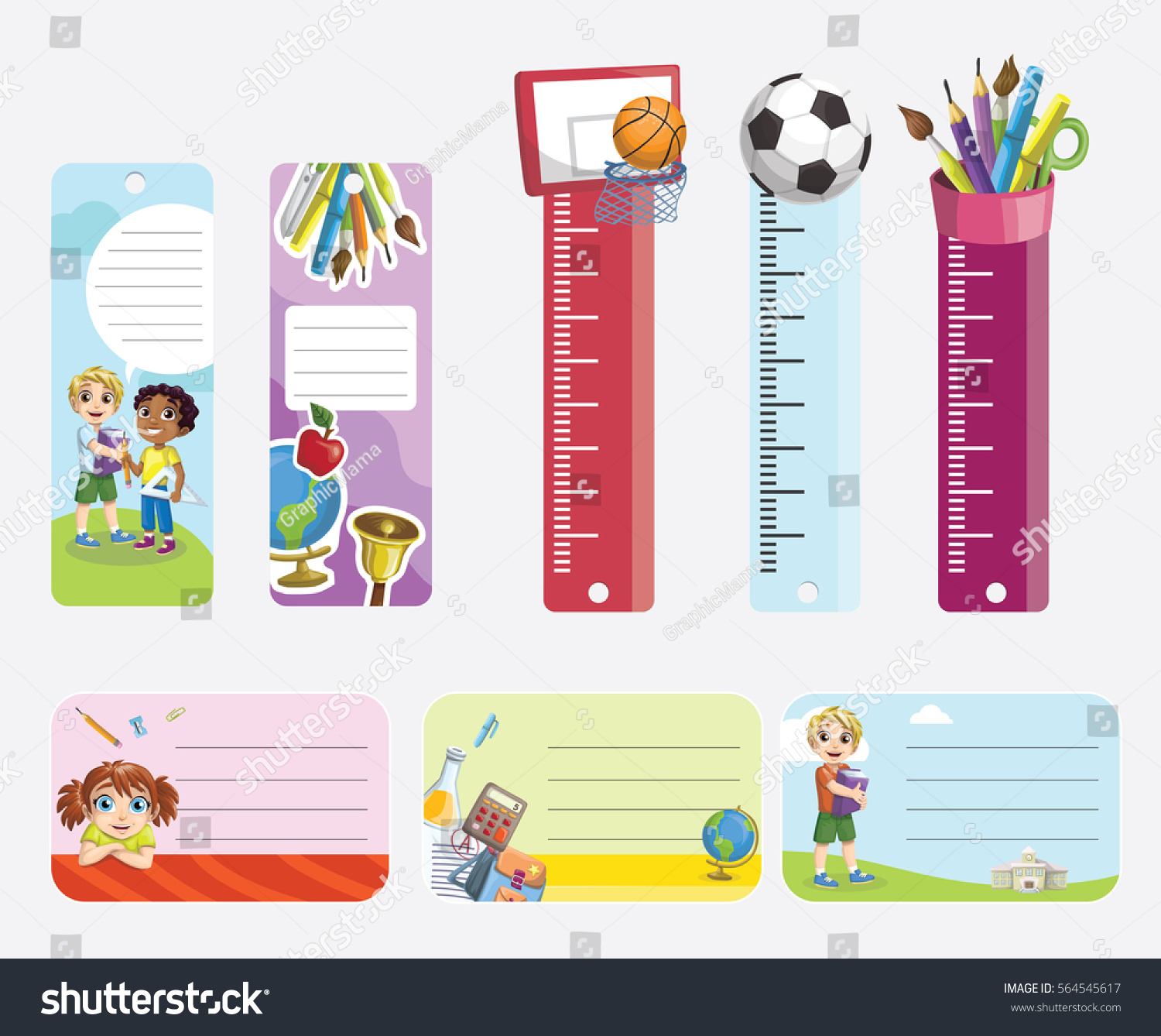 school stickers bookmarks labels stock vector (royalty free