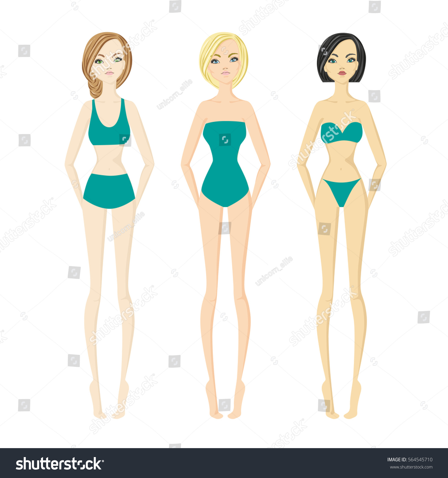 1aacb014fcb38 Three Girls Bathing Suits Stock Vector (Royalty Free) 564545710 ...
