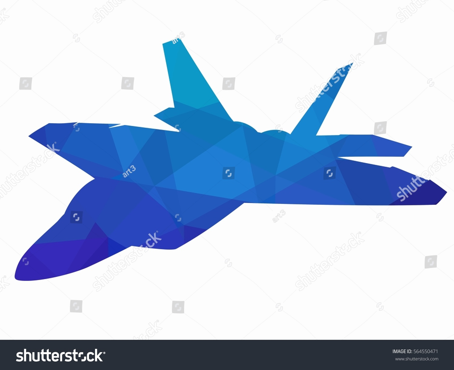 Silhouette Flying Fighter Creative Triangular Drawing Stock Vector