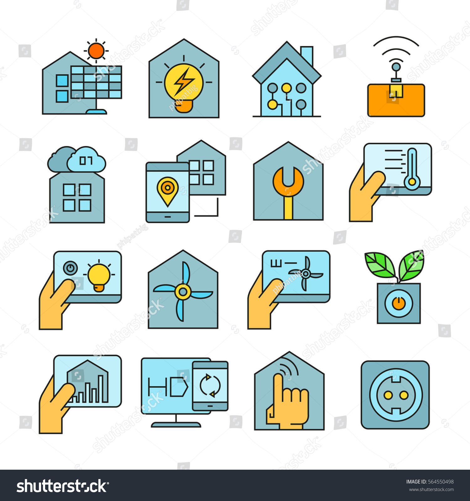 Smart Home Home Automation Icons Color Stock Vector 564550498 ...