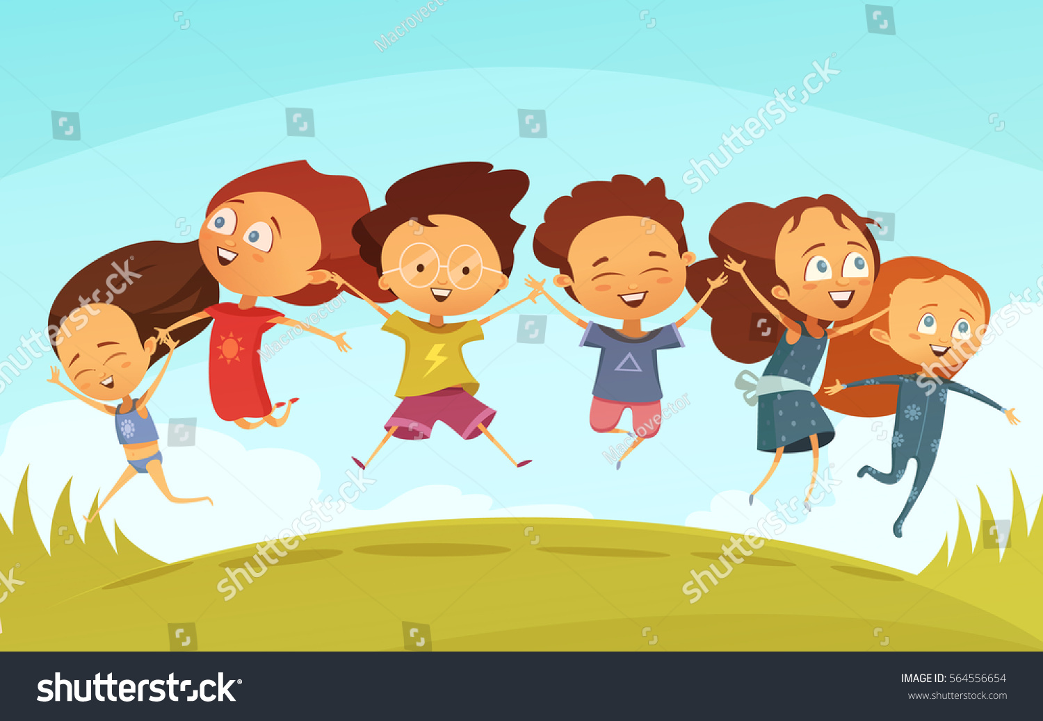 Cartoon Team Cheerful Friends Holding Hands Stock Vector