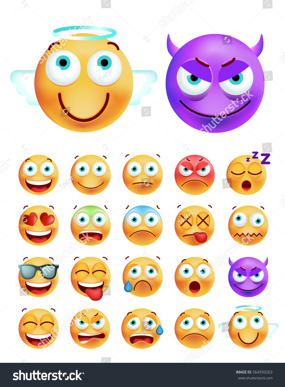 Set Cute Emoticons On White Background Stock Vector 564593263