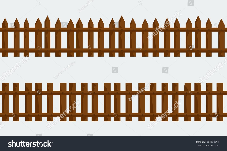 Wooden Farm Fence set wooden farm fence vector flat stock vector 564606364