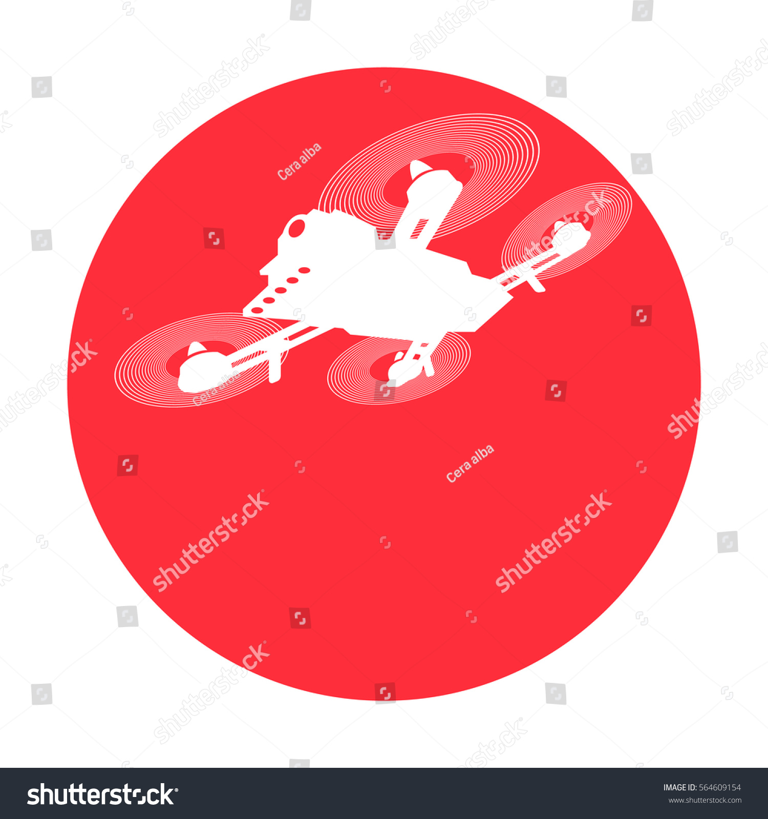 Drone racing logo red and white isolated background