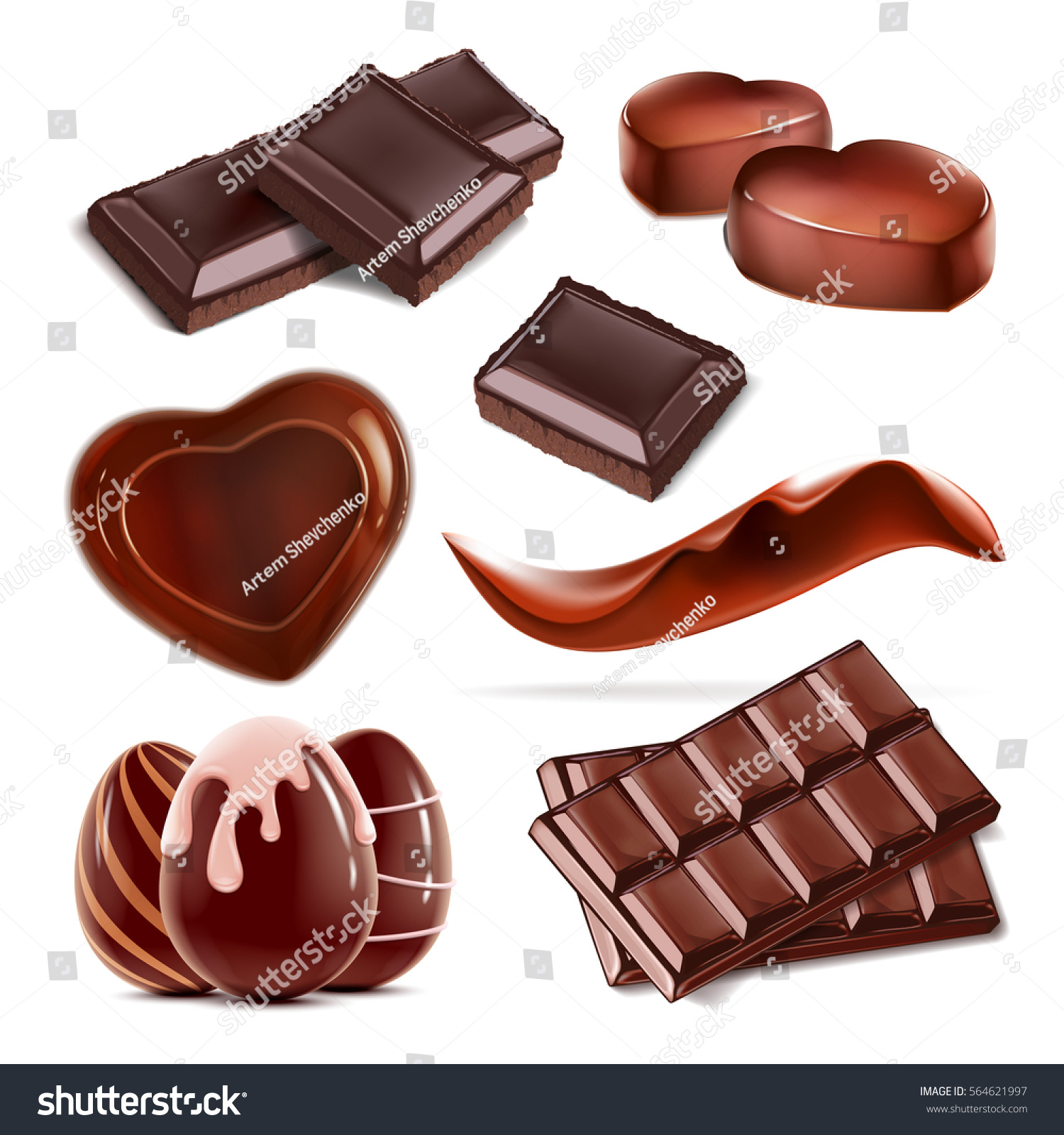set chopped chocolate bar heartshaped candy stock vector 564621997 shutterstock. Black Bedroom Furniture Sets. Home Design Ideas