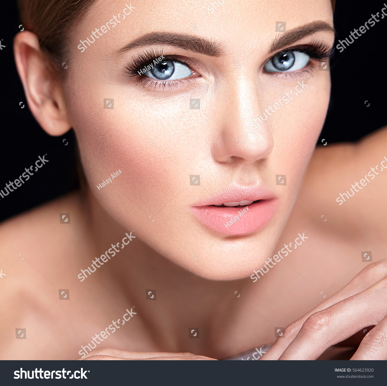 Beautiful Woman Model No Makeup Clean Stock Photo ...