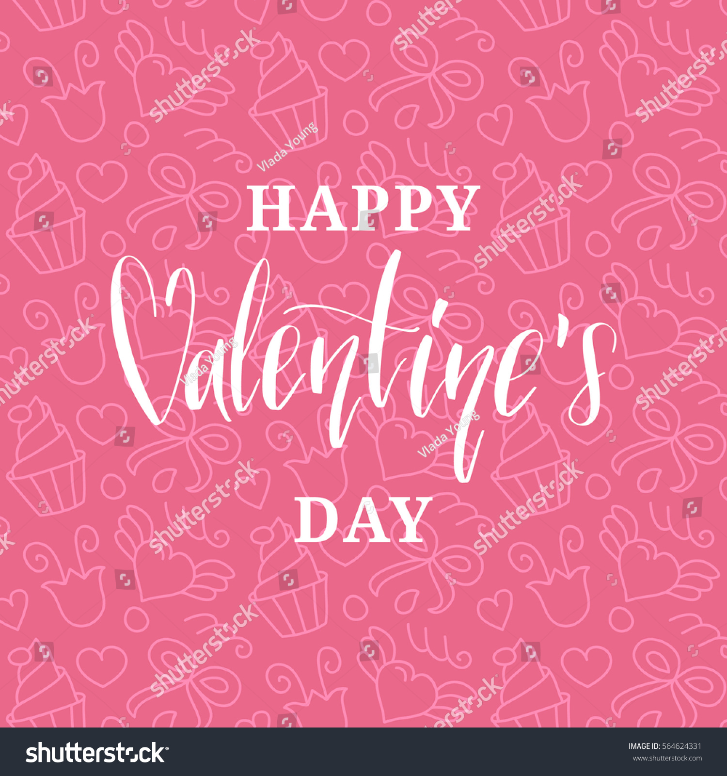 happy valentines day handwritten lettering card stock vector