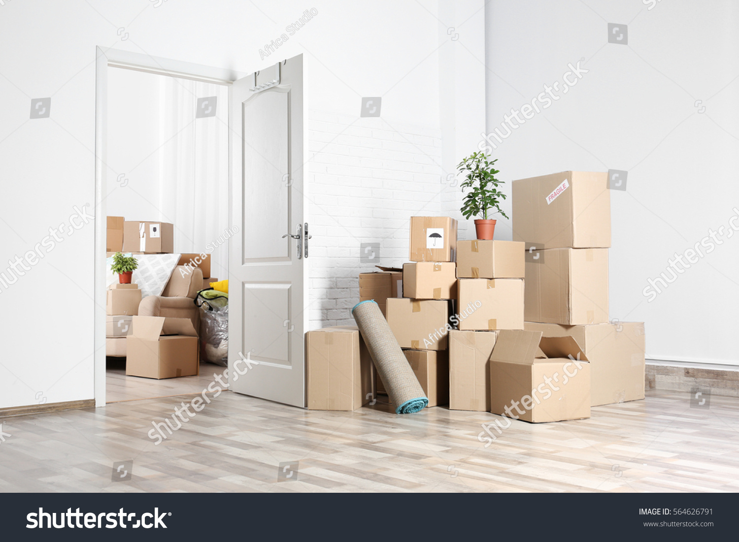Packed Household Stuff Moving Into New Stock Photo 564626791 ...