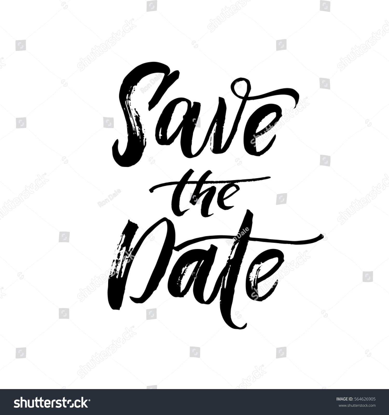 Save Date Text Calligraphy Vector Lettering Stock Vector