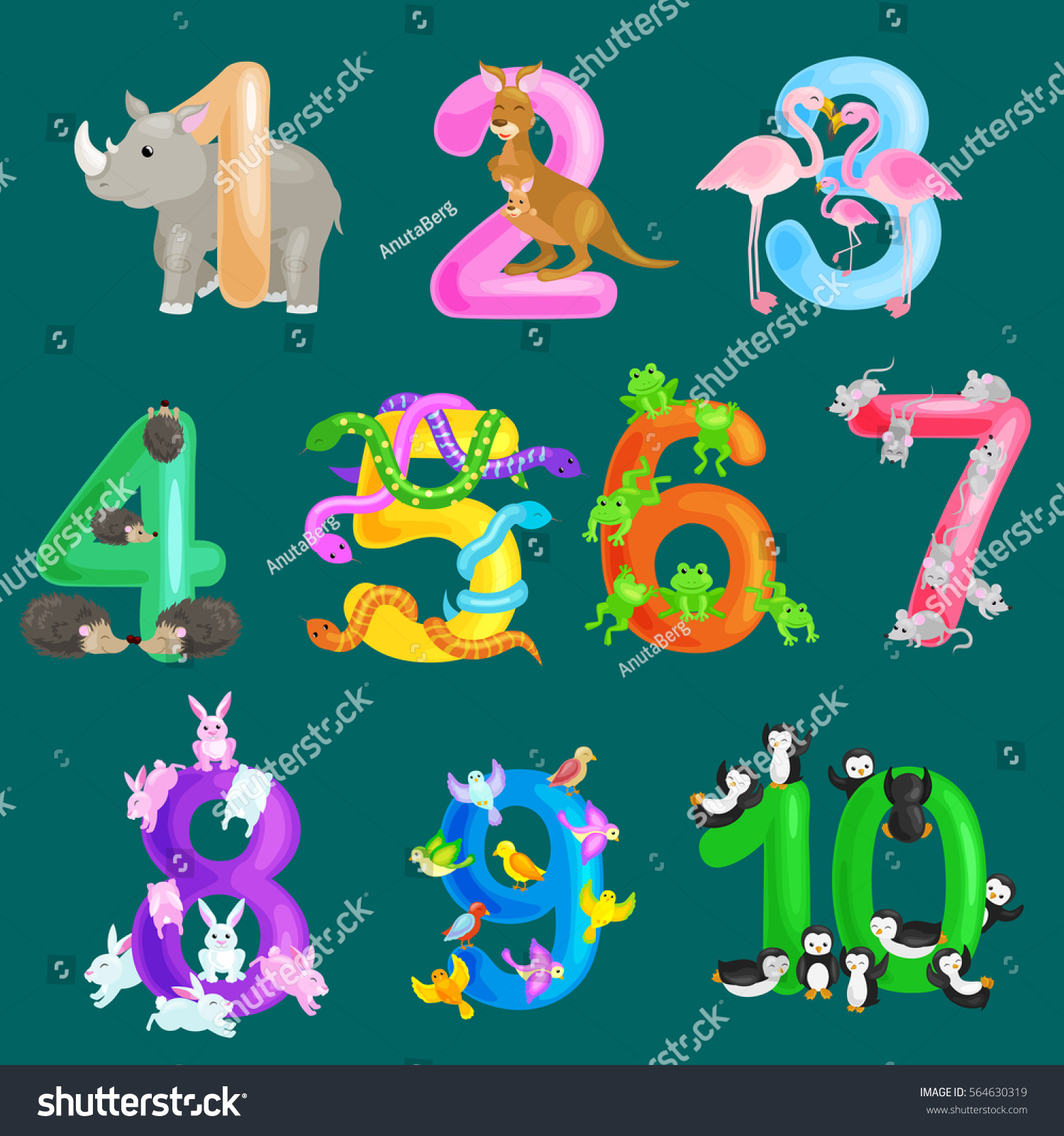 Set Ordinal Numbers Teaching Children Counting Stock Vector (Royalty ...