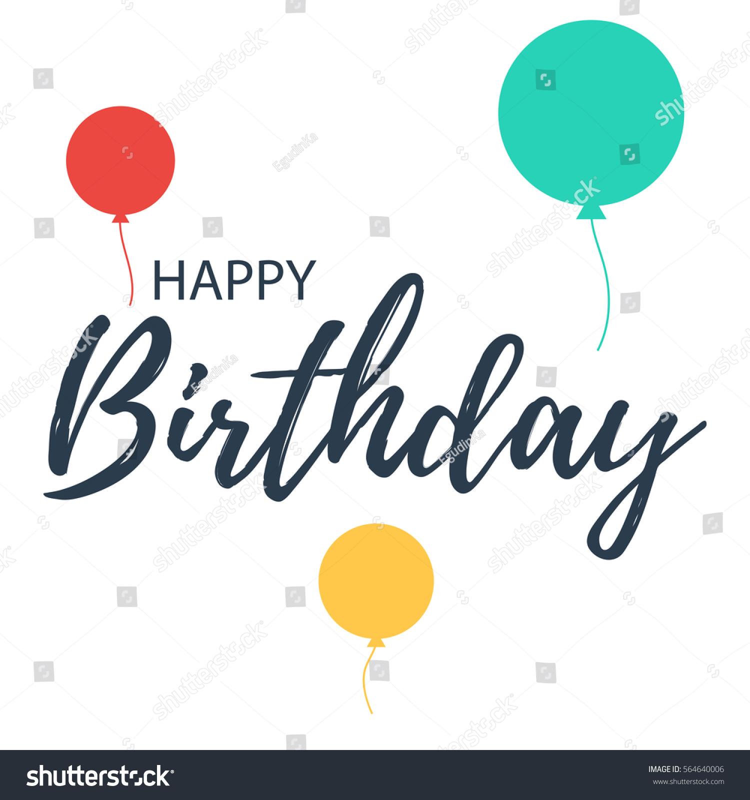 Happy Birthday Lettering Balloons Vector Illustration Stock Vector