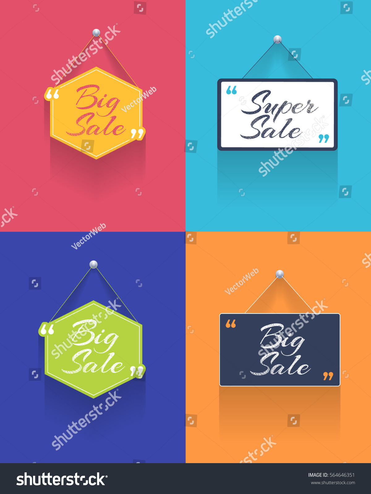 vector diffirent flat web ad template stock vector  vector diffirent flat web ad template long shadow style quotes banner design big
