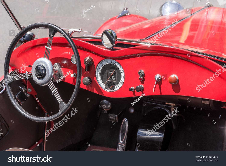 Retro Style Classic Red Car Interior Stock Photo Edit Now