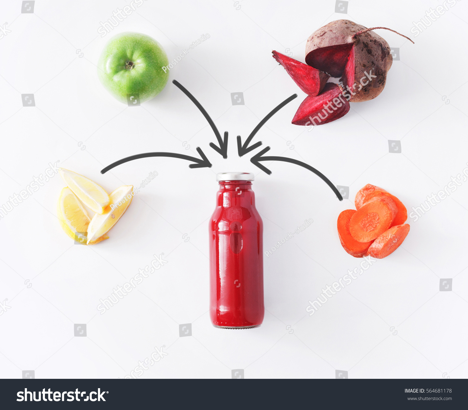 Detox Cleanse Drink Concept Vegetable Smoothie Stock Photo (Edit Now