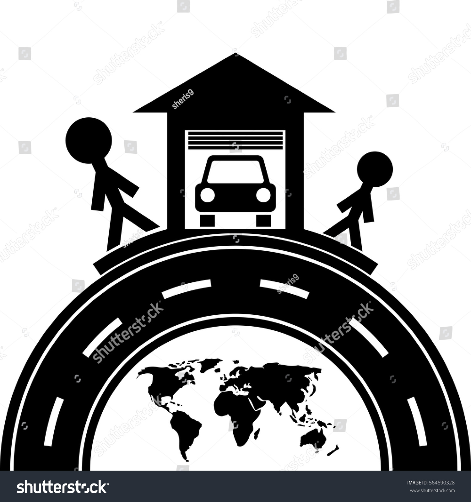 Happiness Father Son Good Car Symbol Stock Vector Royalty Free