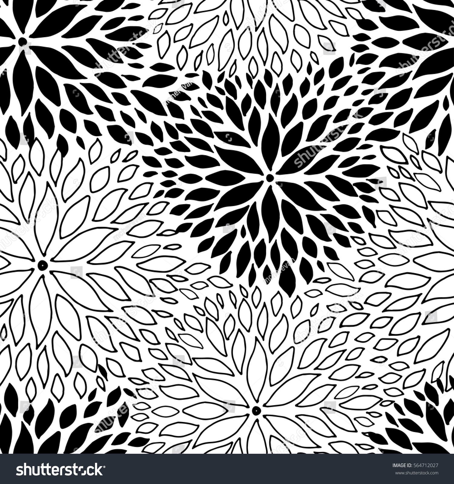 Beautiful Seamless Pattern Monochrome Black White Stock Vector 2018