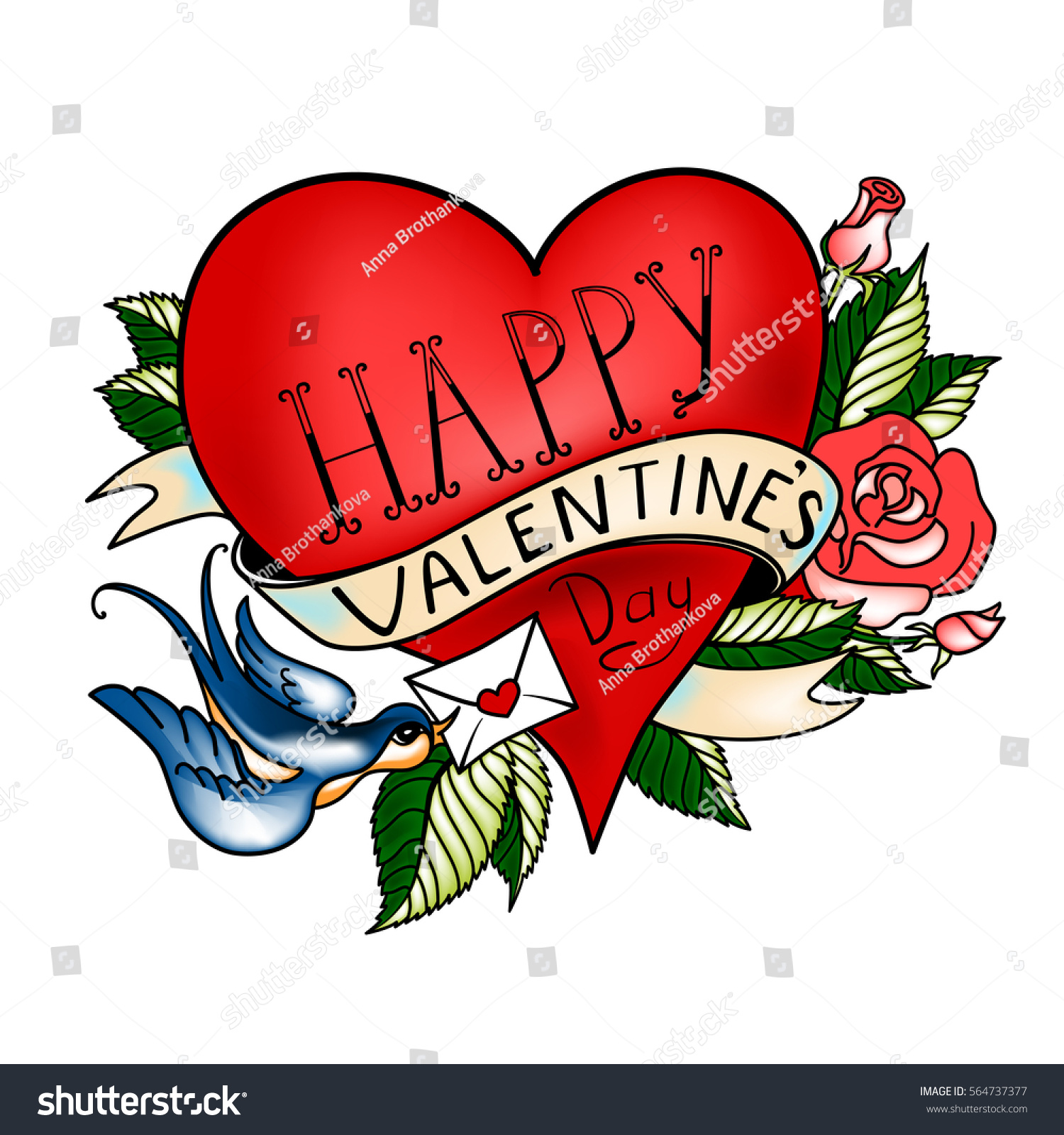 Vector valentines day greeting card heart stock vector royalty free vector valentines day greeting card with heart made in classic old school tattoo style m4hsunfo
