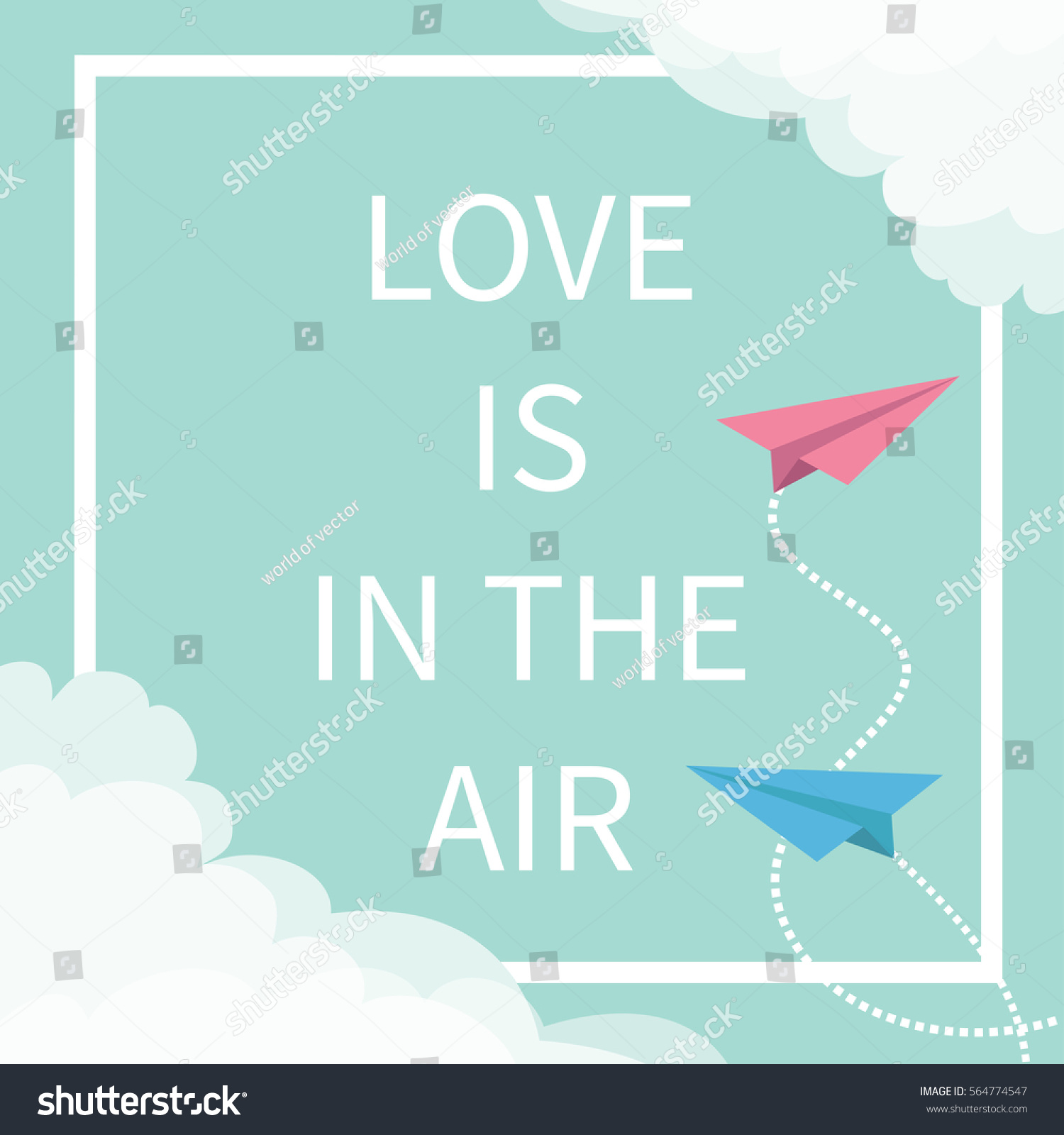 Love air lettering text flying origami stock vector 564774547 flying origami paper plane dashed square line jeuxipadfo Gallery