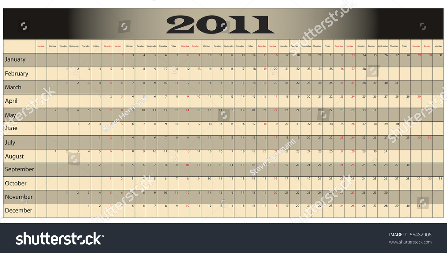 Year Long Calendar Weekends Highlighted Red Stock Illustration ...