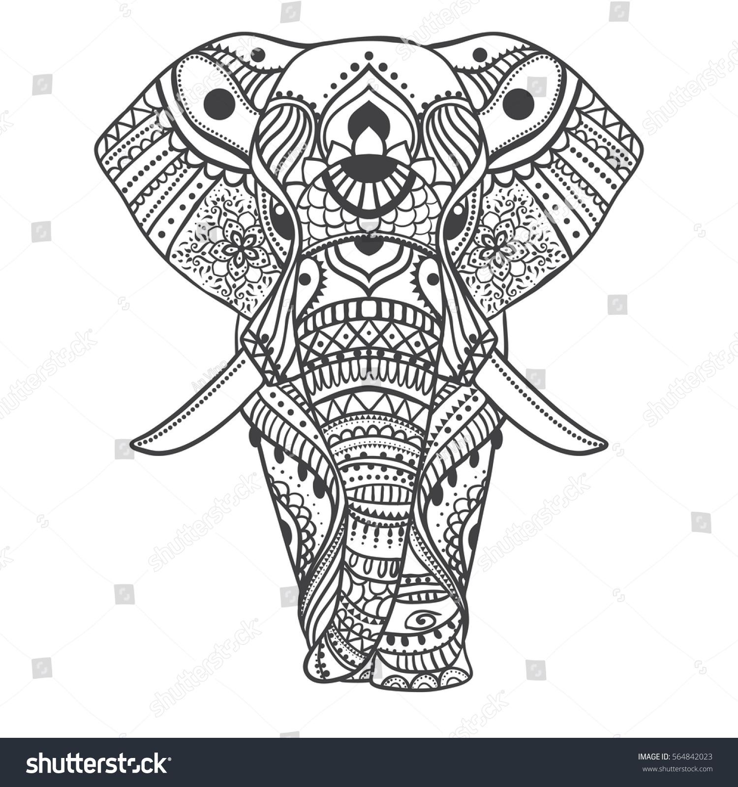 Greeting Beautiful Card Elephant Frame Animal Stock Vector 564842023 ...