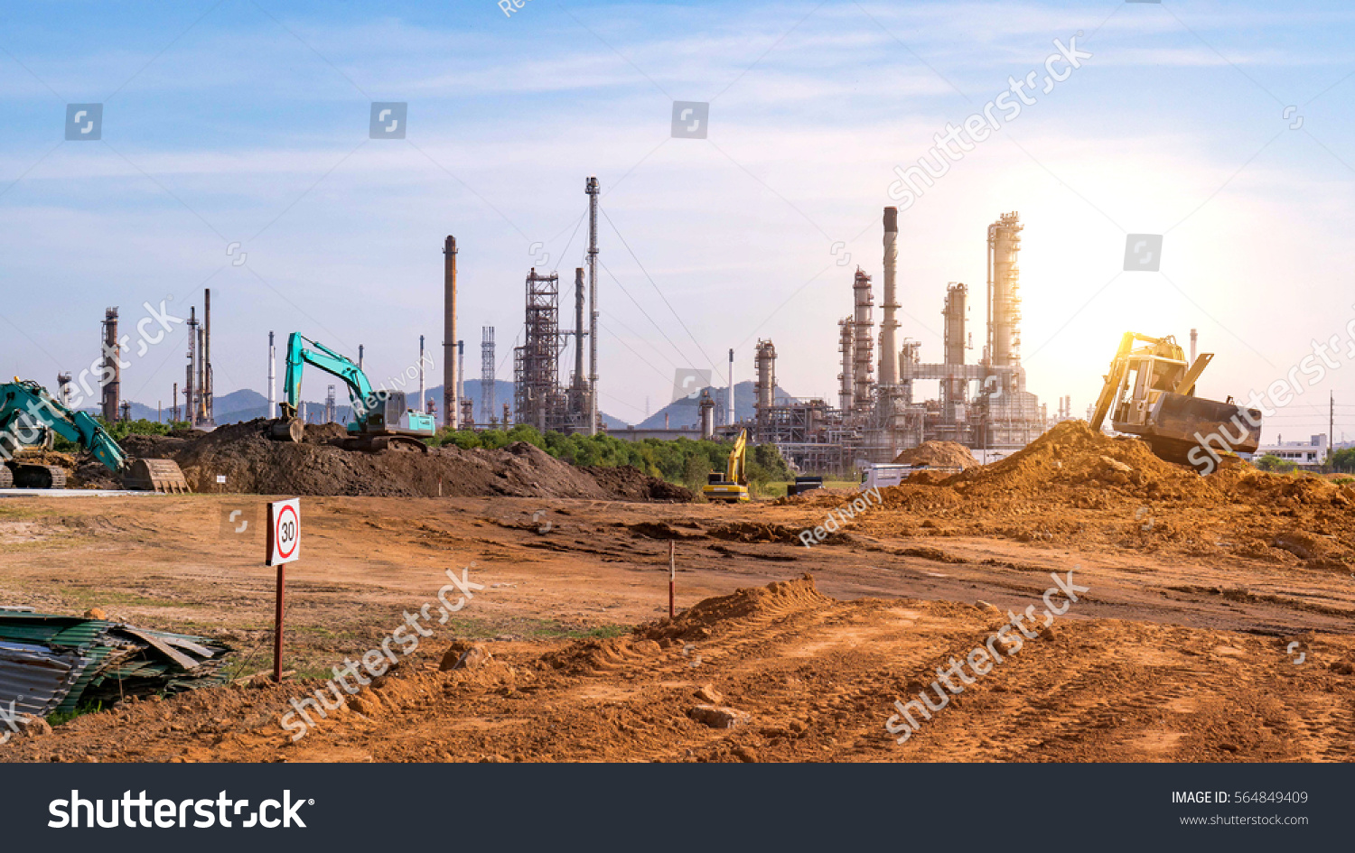 Oil Gas Refinery Construction Site Tractors Stock Photo (Edit Now
