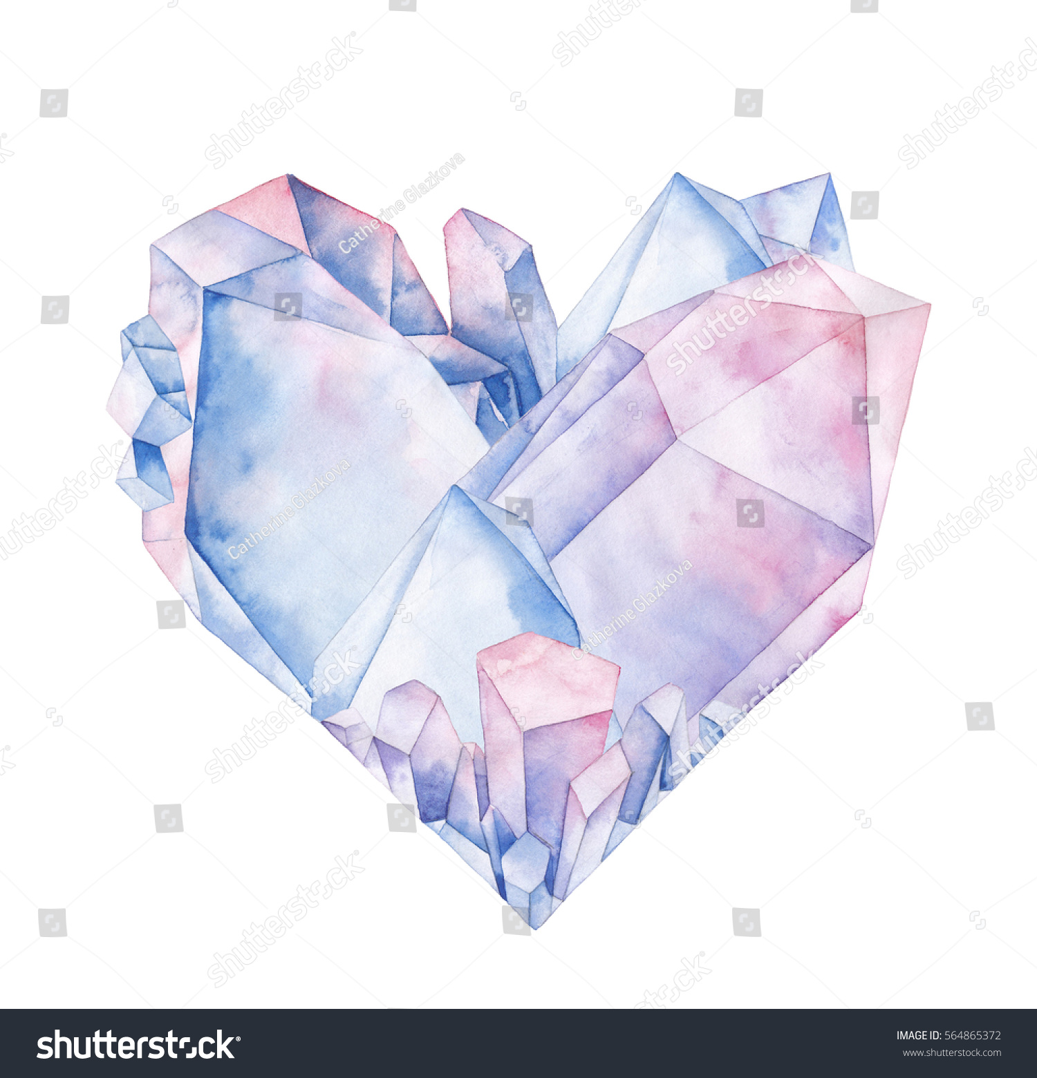 Watercolor Crystals In The Shape Of Heart. Hand Drawn Valentine Day Design  In Pastel Colors