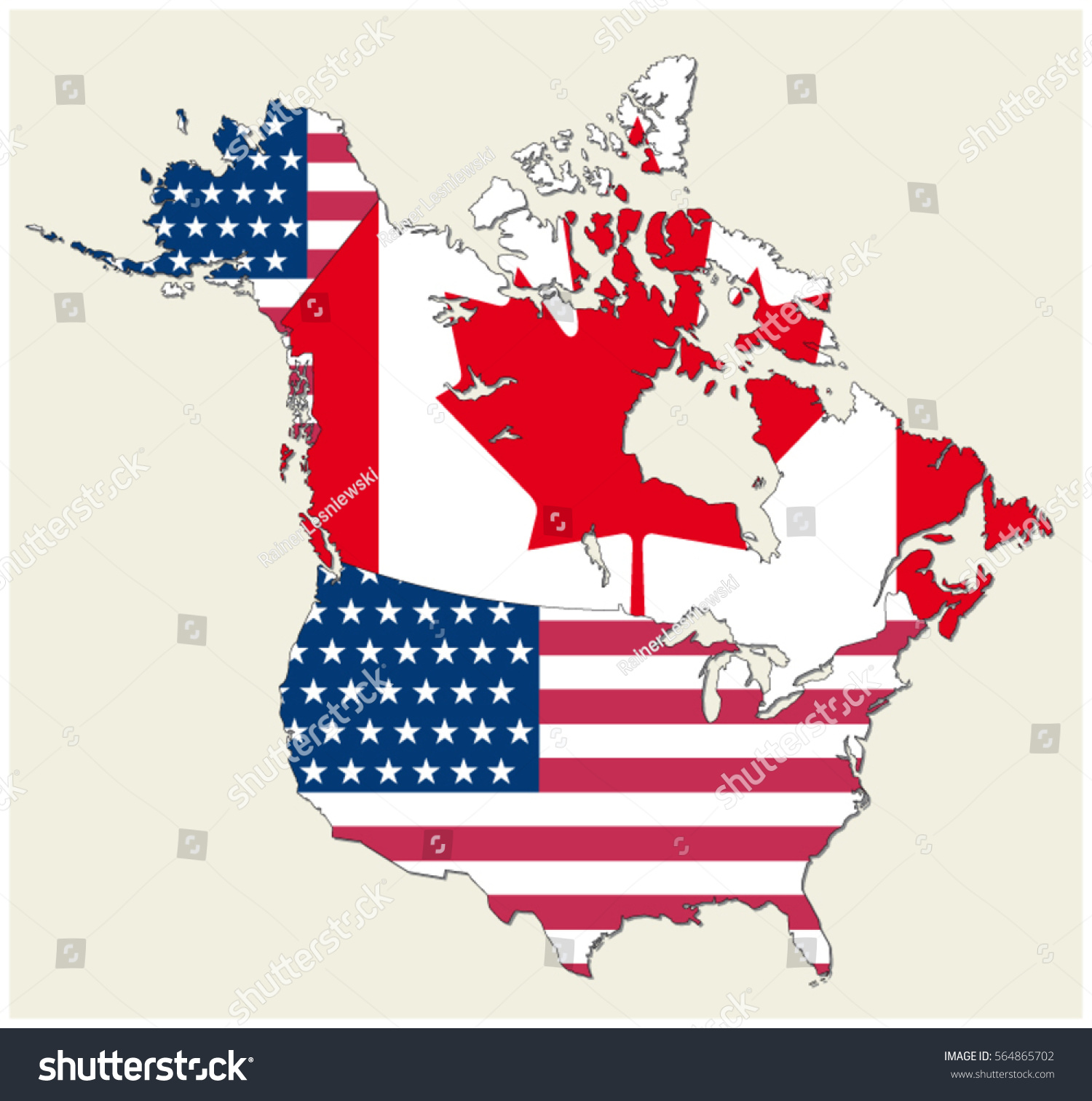 Map States Canada Usa Represented Flag Stock Vector (Royalty Free ...