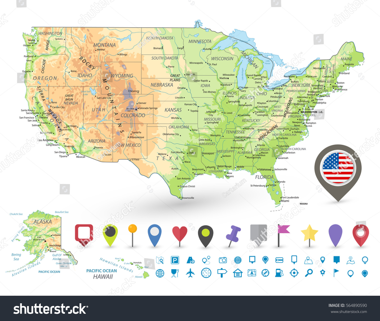 Usa Detailed Physical Map Navigation Icons Stock Vector - Usa detailed map