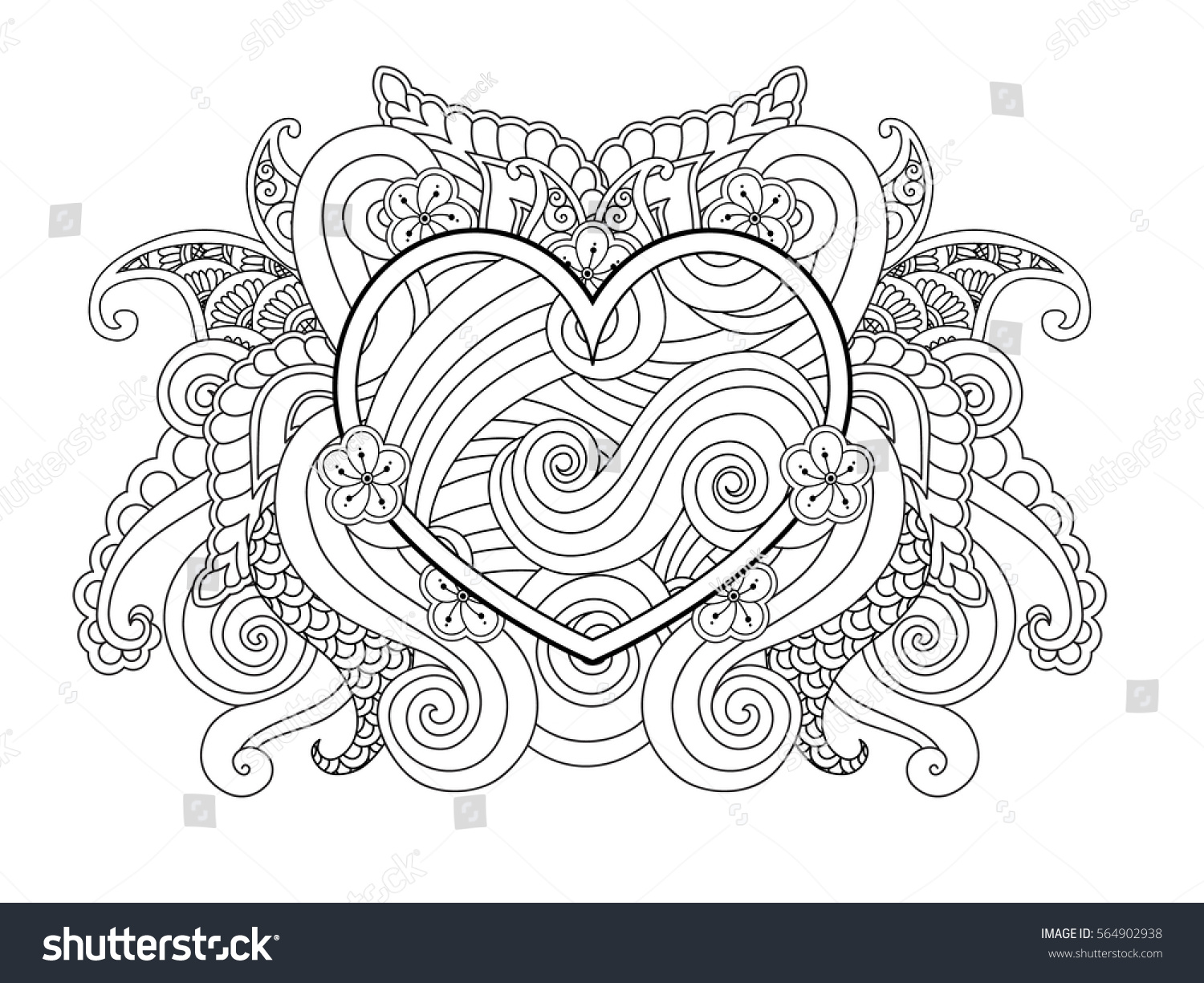coloring page heart abstract element isolated stock illustration