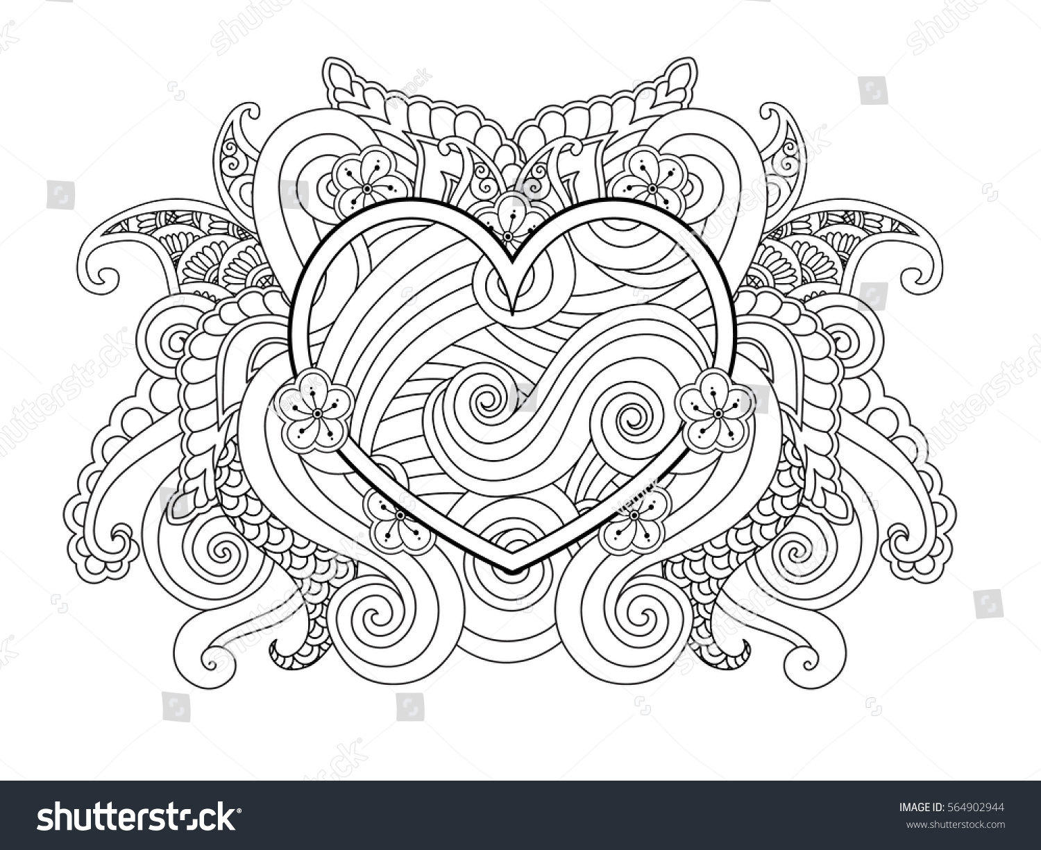 Coloring Page Heart Abstract Element Isolated Stock Vector (Royalty ...