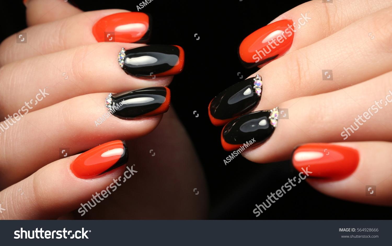 French Manicure Design Rhinestones Stock Photo (Royalty Free ...