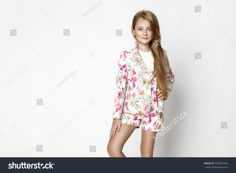 Beautiful Stunning Little Blonde Girl Elegant Stock Photo