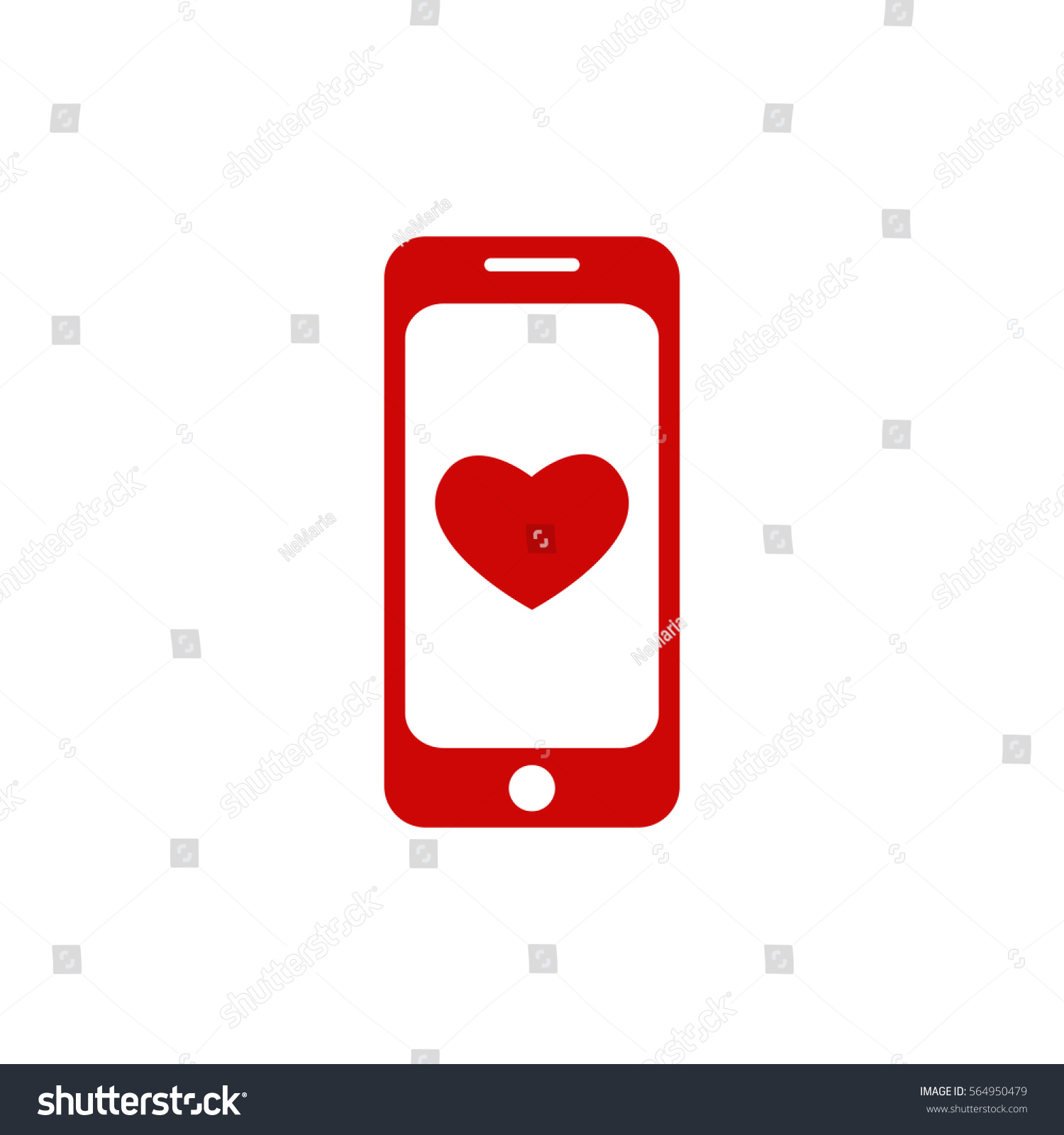 Saint Valentine Red Mobile Phone Icon Stock Vector Royalty Free