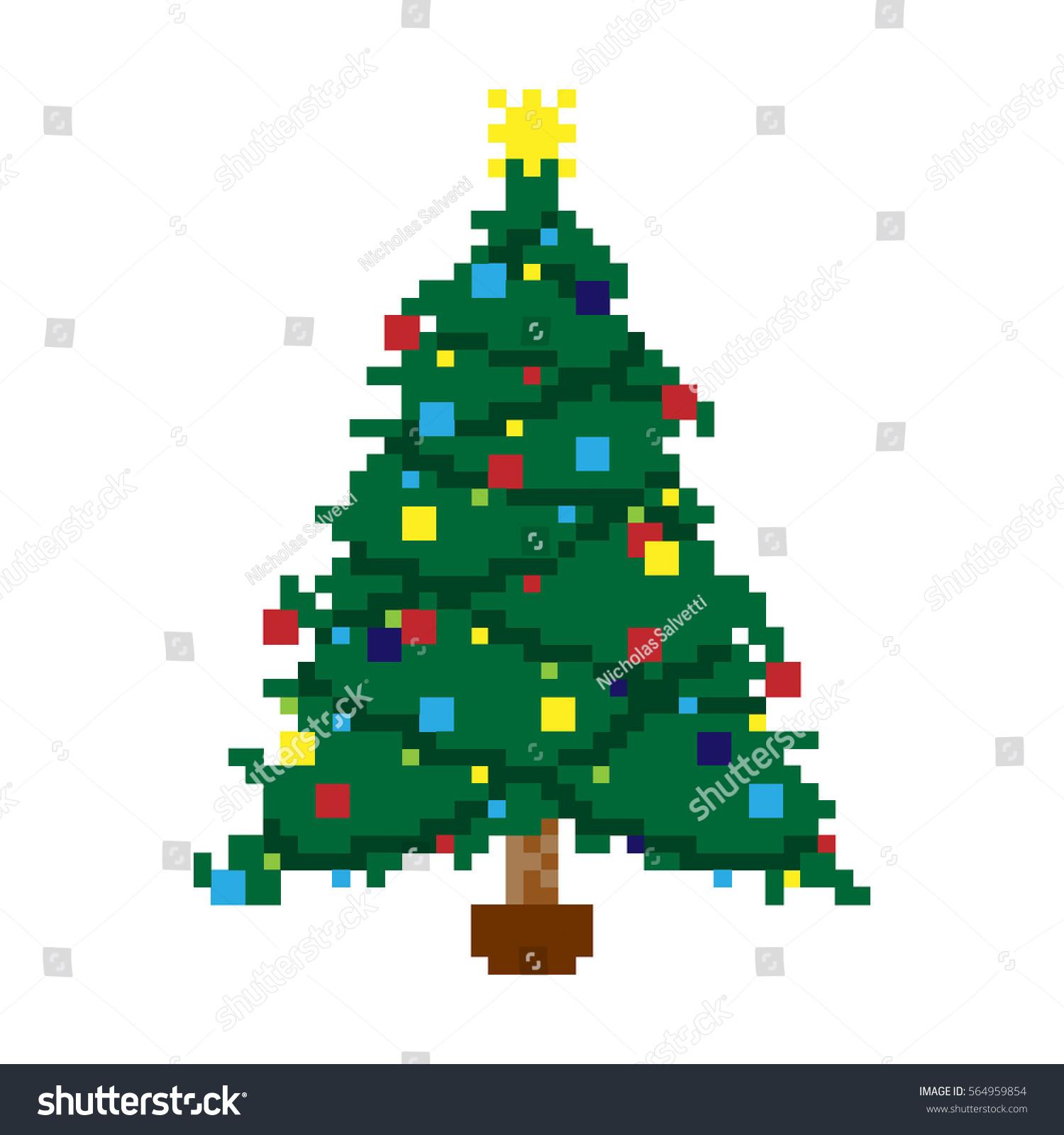 Vector Illustration Pixel Christmas Tree Stock Vector 564959854 ...