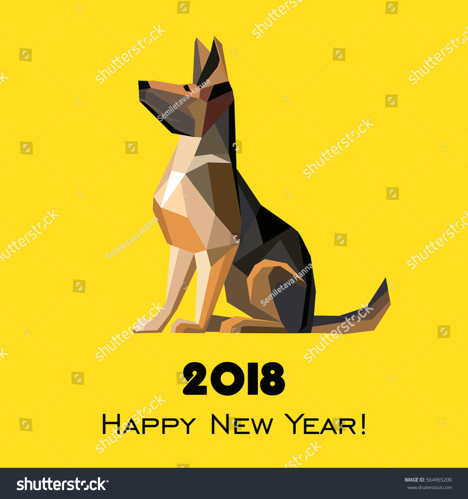 2018 happy new year greeting card stock illustration 564965200 2018 happy new year greeting card celebration yellow background with dog german shepherd and place m4hsunfo