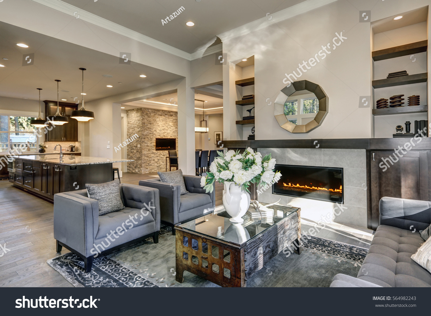 chic living room filled builtin cabinets stock photo 564982243