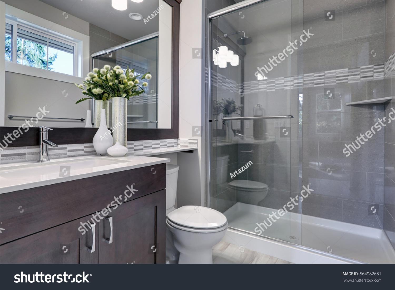- Bright New Bathroom Interior Glass Walk Stock Photo (Edit Now