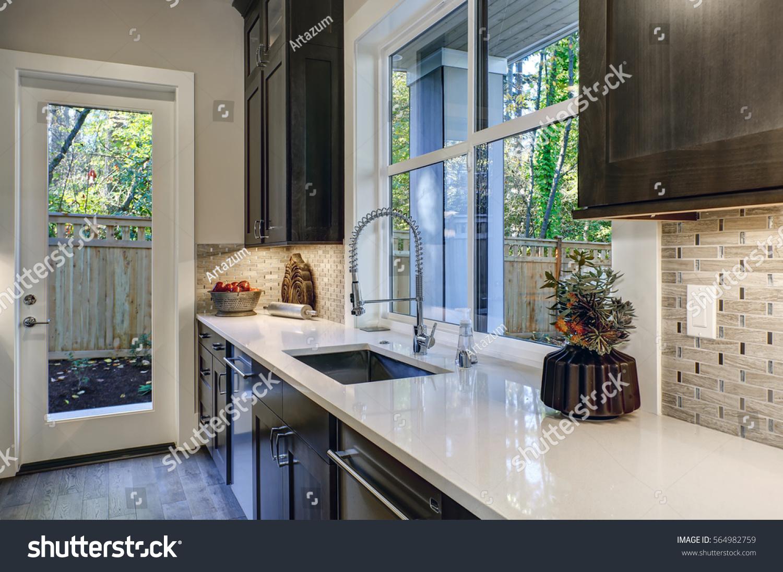 Contemporary Kitchen Design Brown Kitchen Cabinets Stock